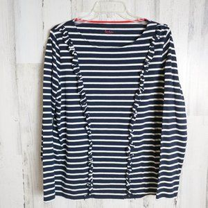 Shirt Ruffle Front Navy White Stripes Size 14